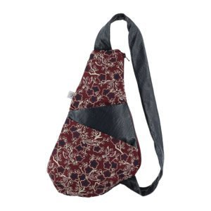 backpack in blue leather and fabric in maroon tones