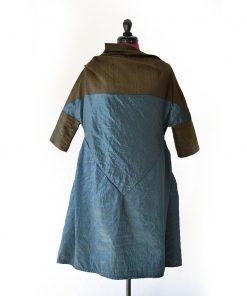 12af9969a Zero-waste organic cotton dress in teal and violet red