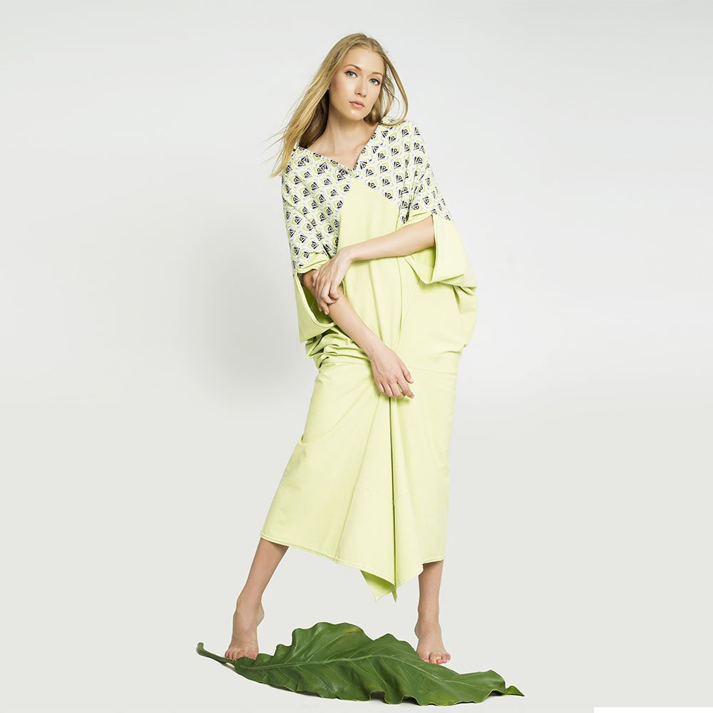 0f9601621 Vestido japonés verde lima ❤ Moda Sostenible Barcelona ❤ Ropa Ecológica